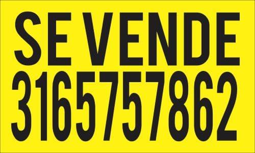 Diseño de aviso de se vende en color amarillo con letra negra